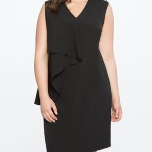 Eloquii Asymmetrical Ruffled Dress Black